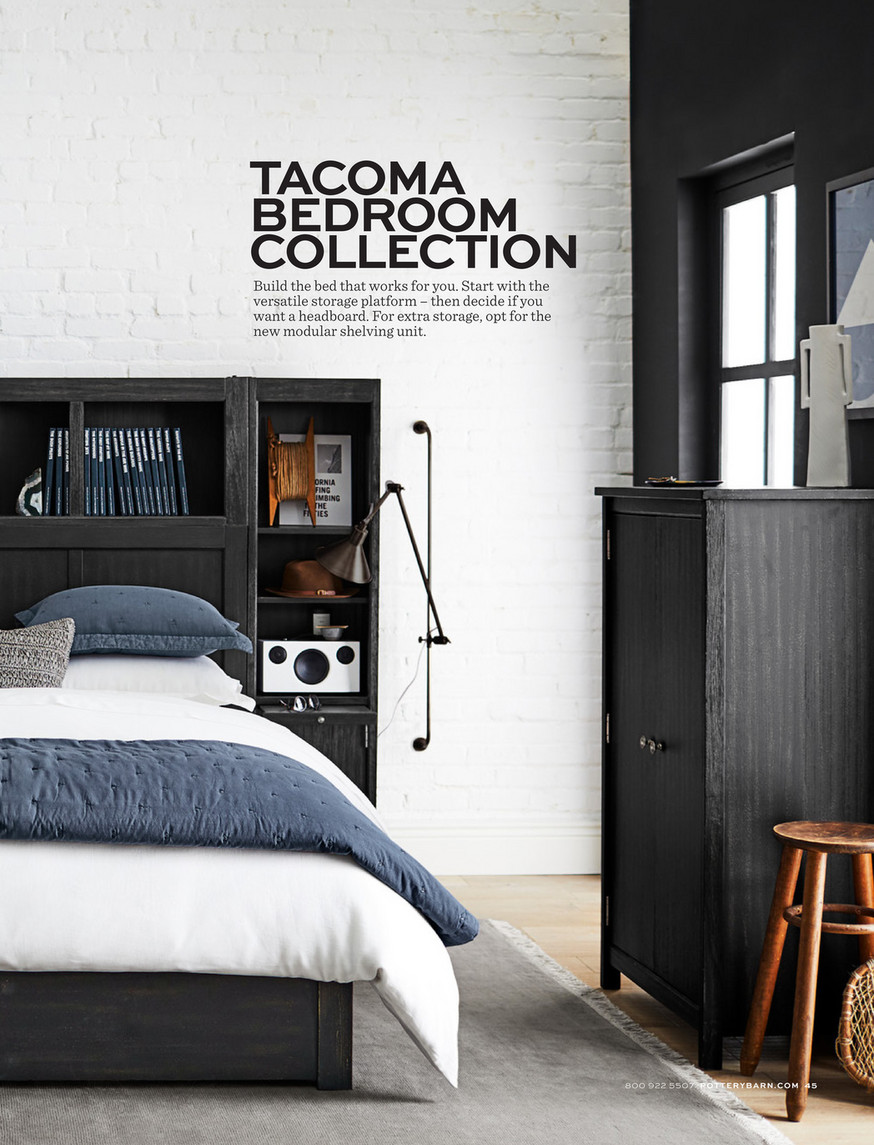 Pottery Barn Pb Apartment Fall 18 Tacoma Modular Storage Hutch Headboard Storage Platform Bed Amp Nightstand Towers Queen Weathered Black