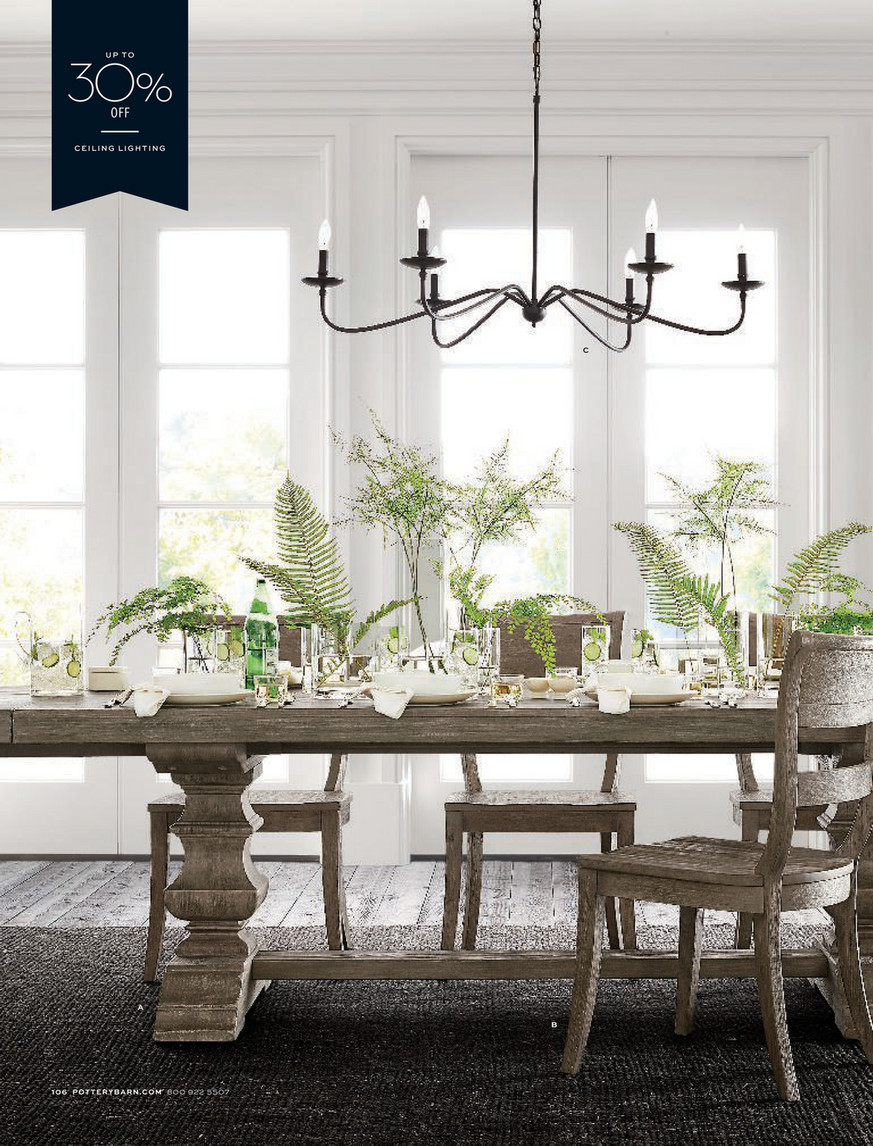 Pottery Barn - Spring 5 D5 - Banks Extending Dining Table, Gray