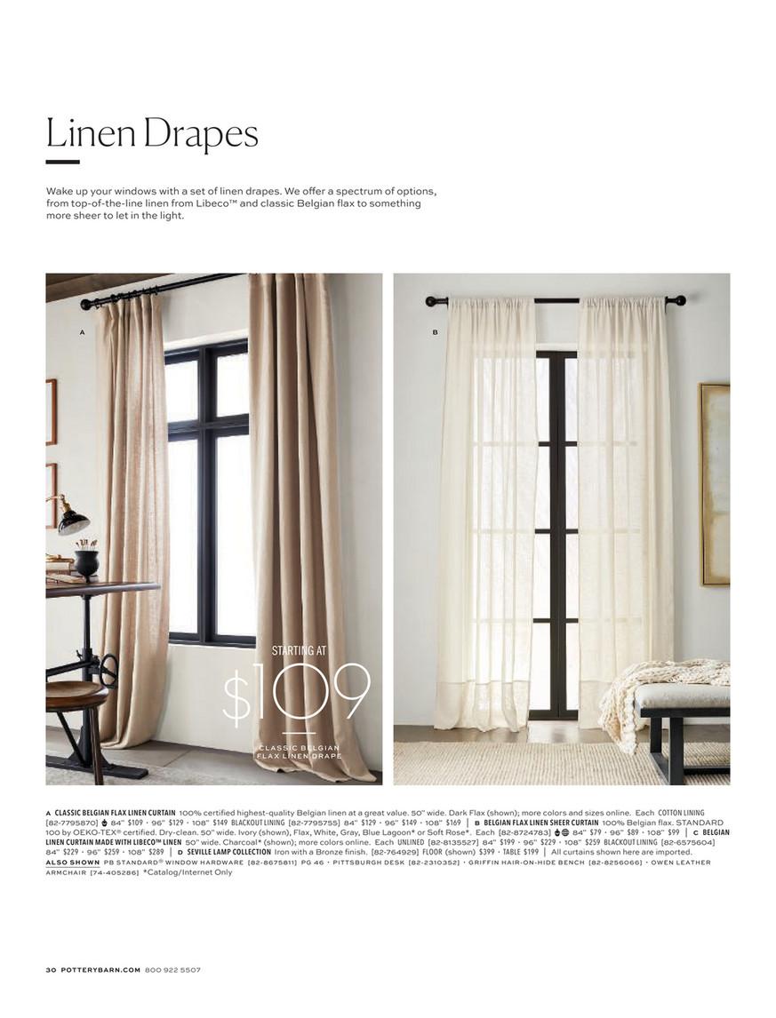 Pottery Barn Fall 2019 D2 Belgian Flax Linen Rod Pocket Curtain Cotton Lining 50 X 84 Dark Flax