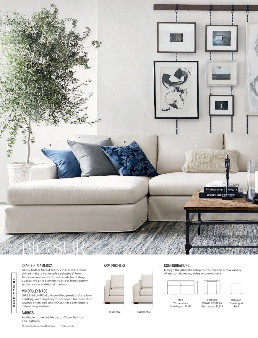 Pottery Barn Holiday D1 2019 Big Sur Square Arm Slipcovered U Double Chaise Grand Sofa Sectional With Bench Cushion Down Blend Wrapped Cushions Sunbrella R Performance Slub Twe