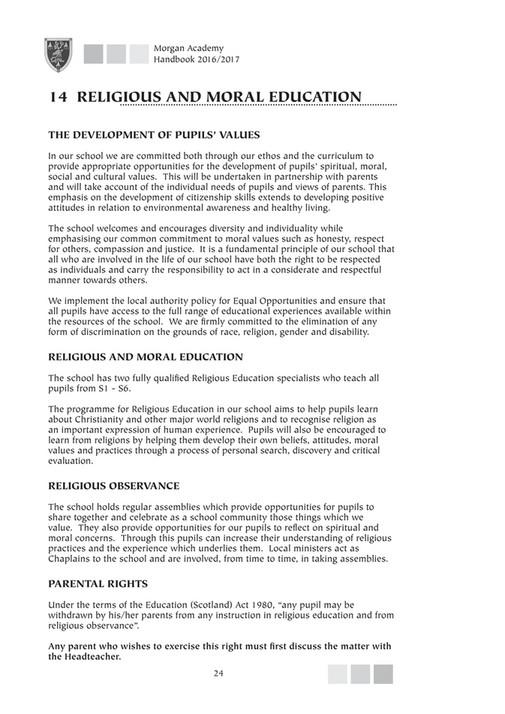 Morgan Academy Twitter Publications - School Handbook 15/16