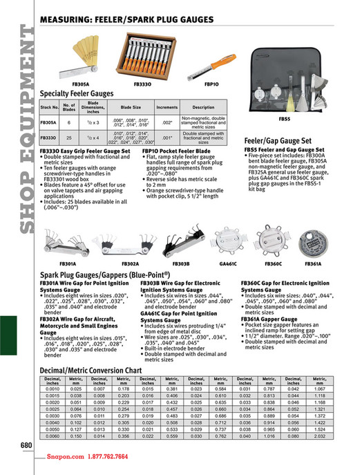 Example snap on tools catalog english cat1300 page 684 685 shop equipment measuring feelerspark plug gauges fb305a fb333o fbp1o specialty feeler gauges no keyboard keysfo Images