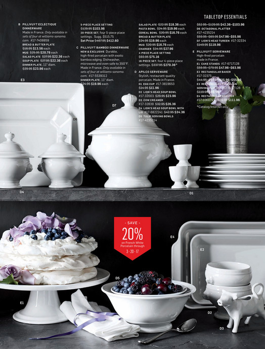 TABLETOP ESSENTIALS B PILLIVUYT ECLECTIQUE DINNERWARE Made in France. Only available in sets of four & Williams-Sonoma - April 2017 Catalog - Pillivuyt Eclectique 5-Piece ...