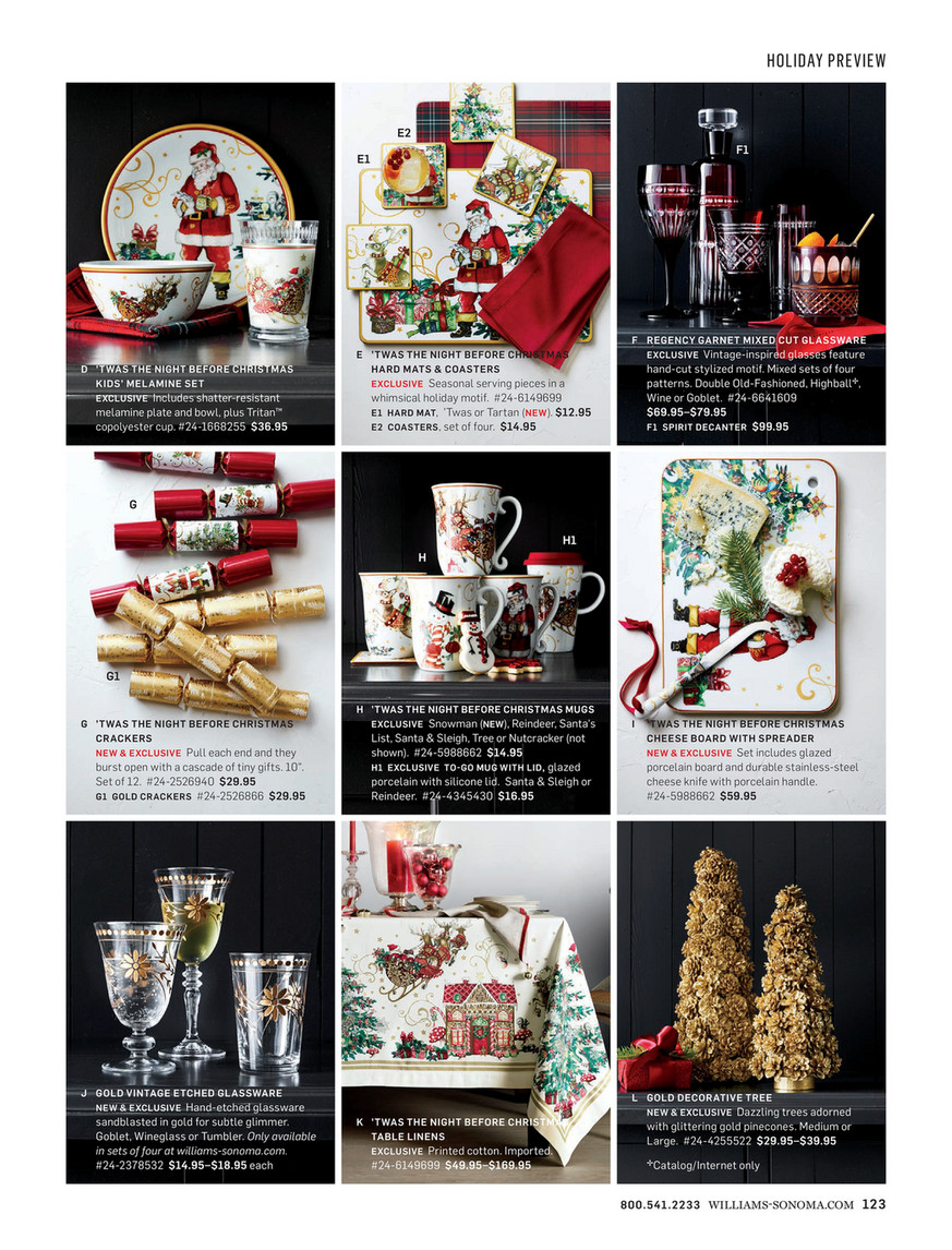 Williams Sonoma Christmas Crackers.Williams Sonoma Fall 4 Catalog Page 122 123