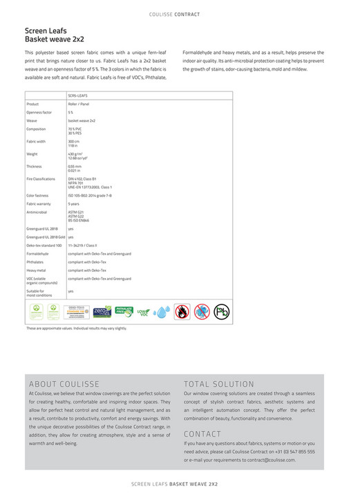 Coulisse Contract Specification Sheet Screen Leafs Page 1
