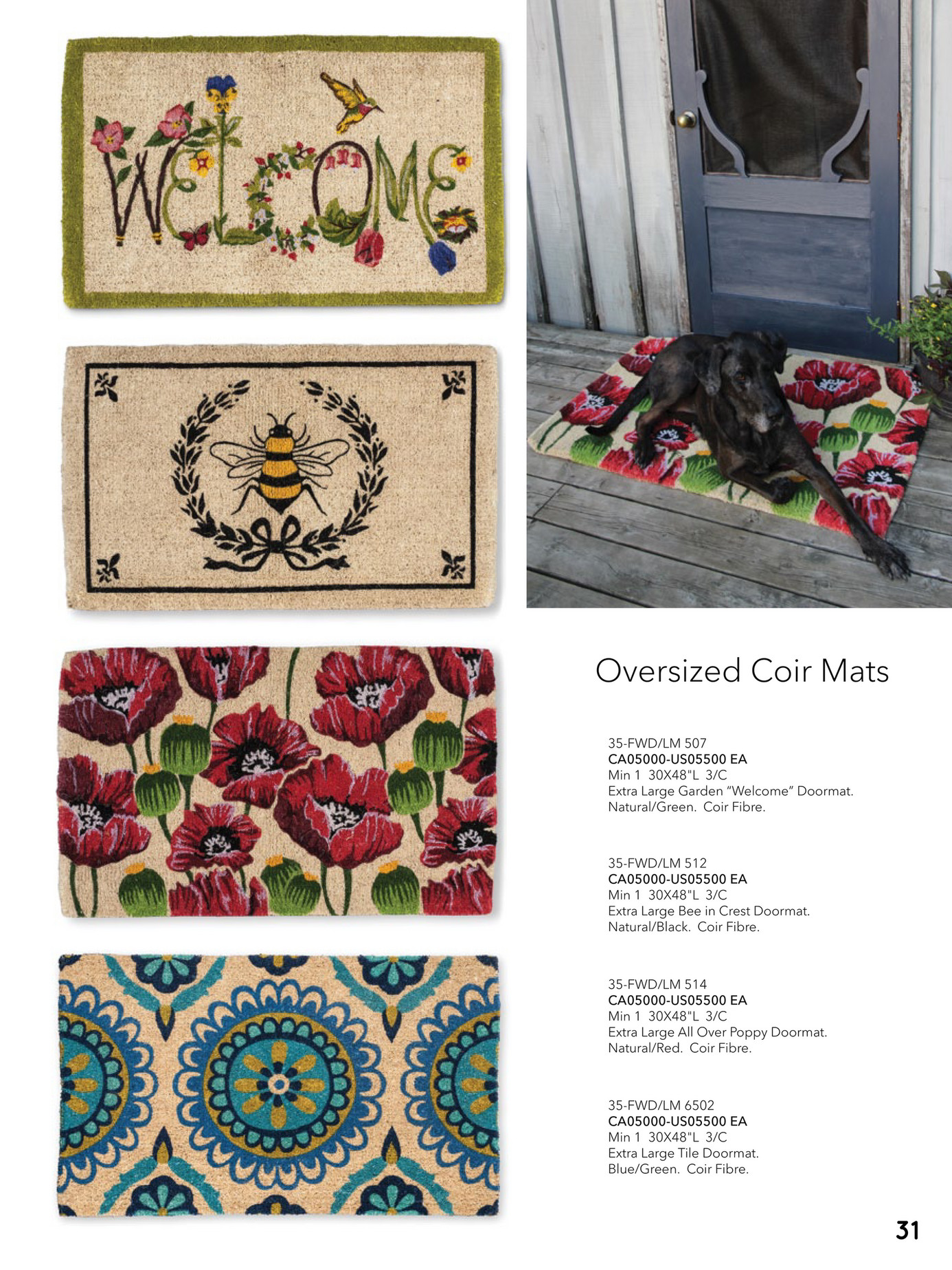 Abbott Collection Coir Poppy Doormat 35-FWD//LM 514 Extra Large