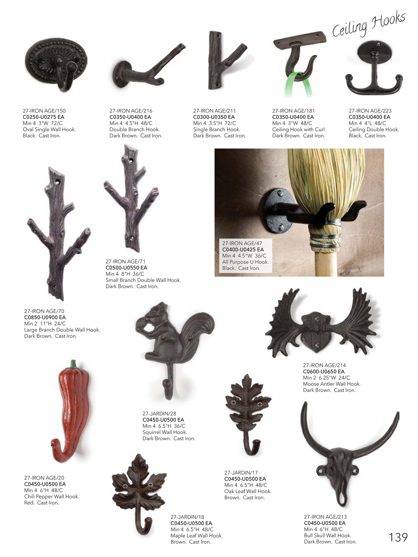 Abbott 27-Iron Age//271 Collection Antique Red Home Wall Hook