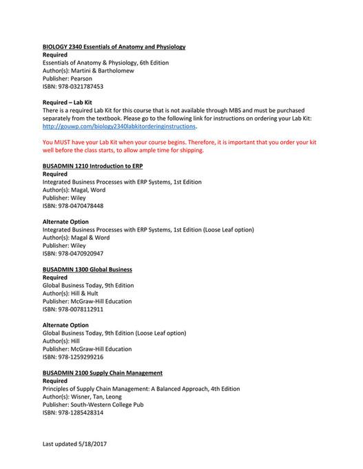 UW-Platteville - Summer 2017 Textbooks - Page 2-3