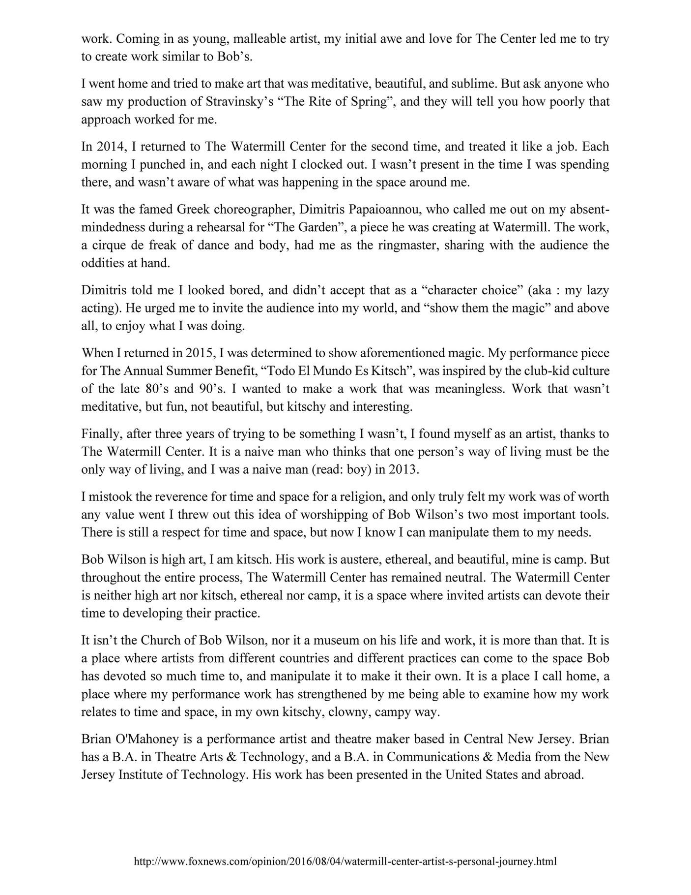 Http www foxnews com opinion 2016 08 04 watermill center artist s personal journey html
