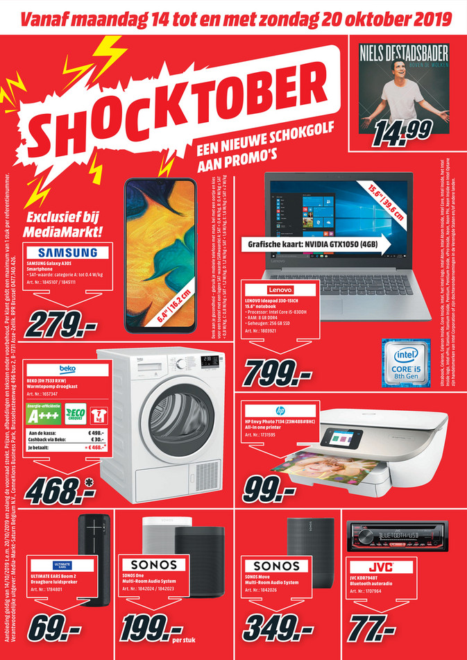 MediaMarkt folder van 14/10/2019 tot 20/10/2019 - Weekpromoties 42