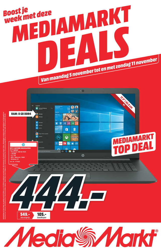 MediaMarkt folder van 05/11/2018 tot 11/11/2018 - Weekpromoties 45