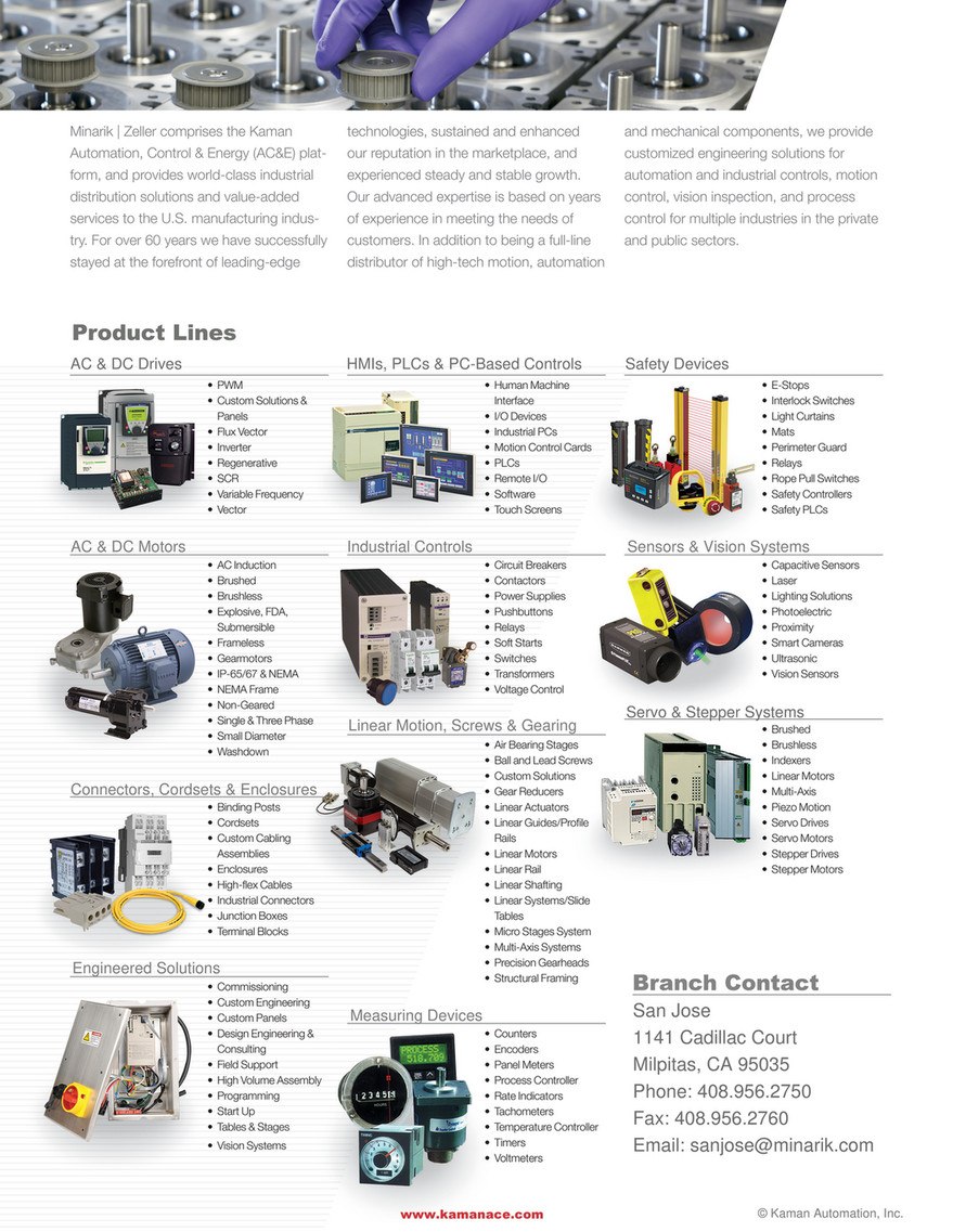 Kaman Distribution Automation Line Card San Jose Page 2 Switch With Remote Controller To Control Ac Motor Our Nationally Authorized Suppliers Minarik Zeller Comprises The Technologies Sustained And Enhanced Mechanical