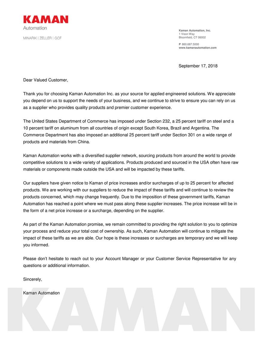 Kaman Distribution - Kaman Automation Tariff Notification - Page 1
