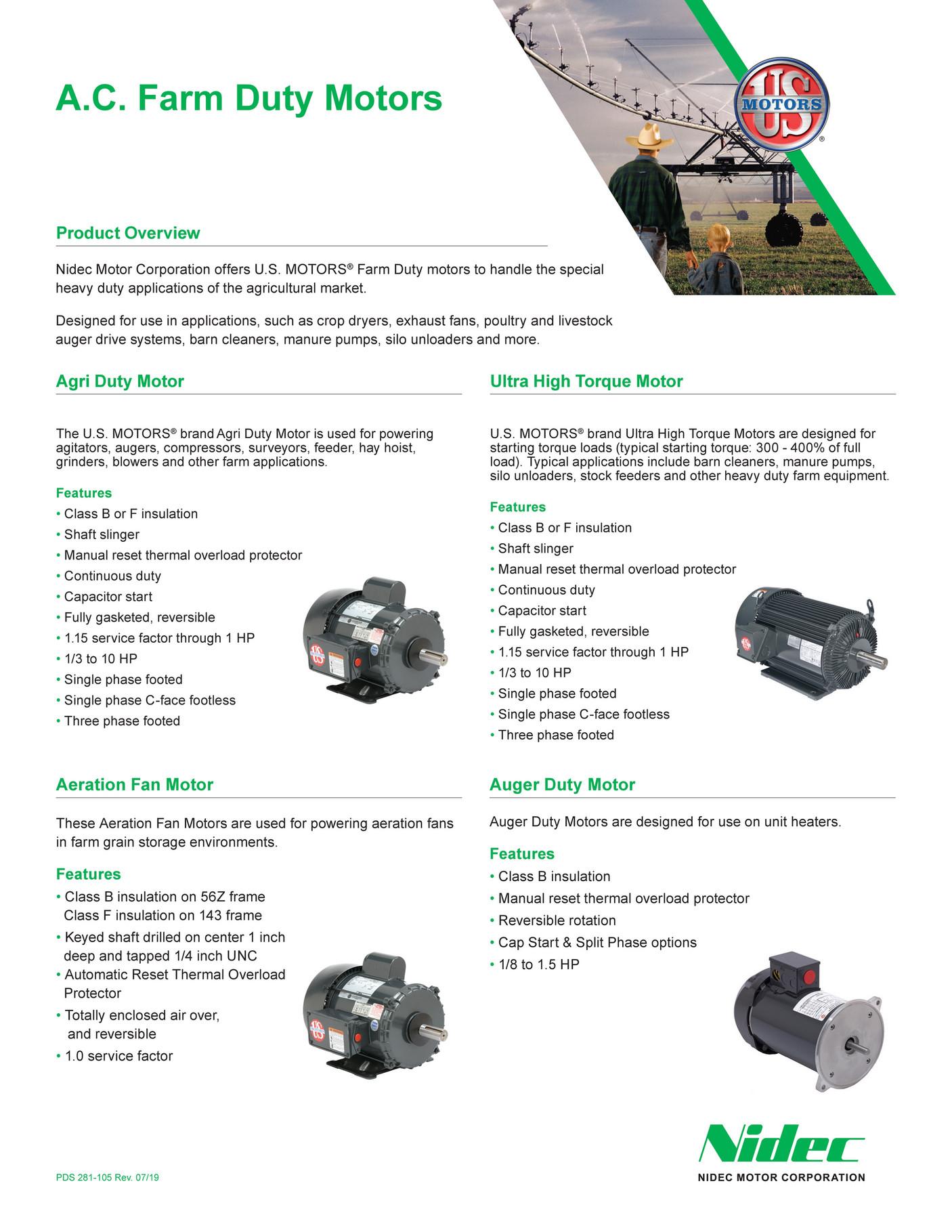 Kaman Distribution - Nidec AC Farm Duty Motors Brochure - Page 1