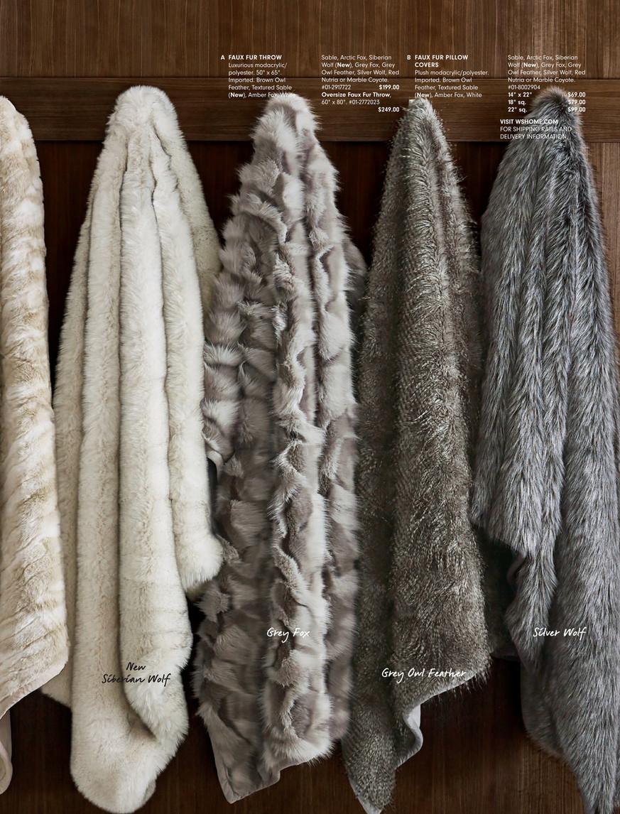 Williams Sonoma Home Modern Comforts Fall 2017 Faux Fur Throw 50 X 65 Gray Fox