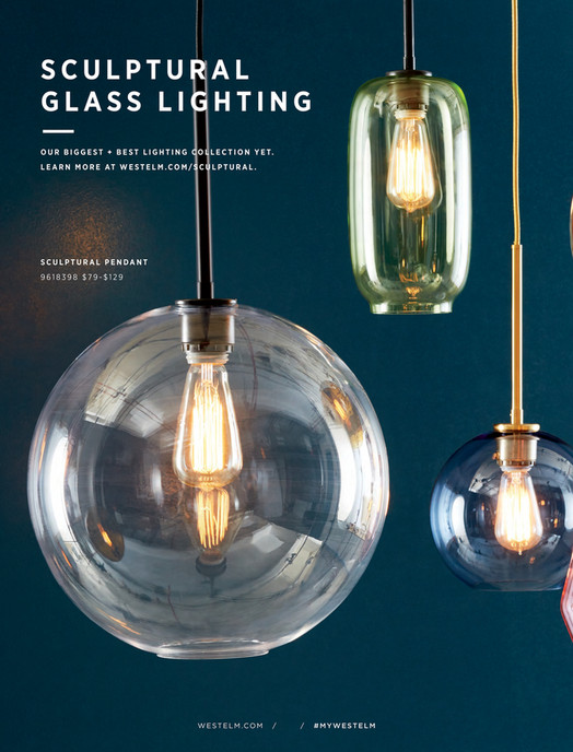 West Elm July 2017 Sculptural Glass 3 Light Round Globe Chandelier S M L Clear Sh