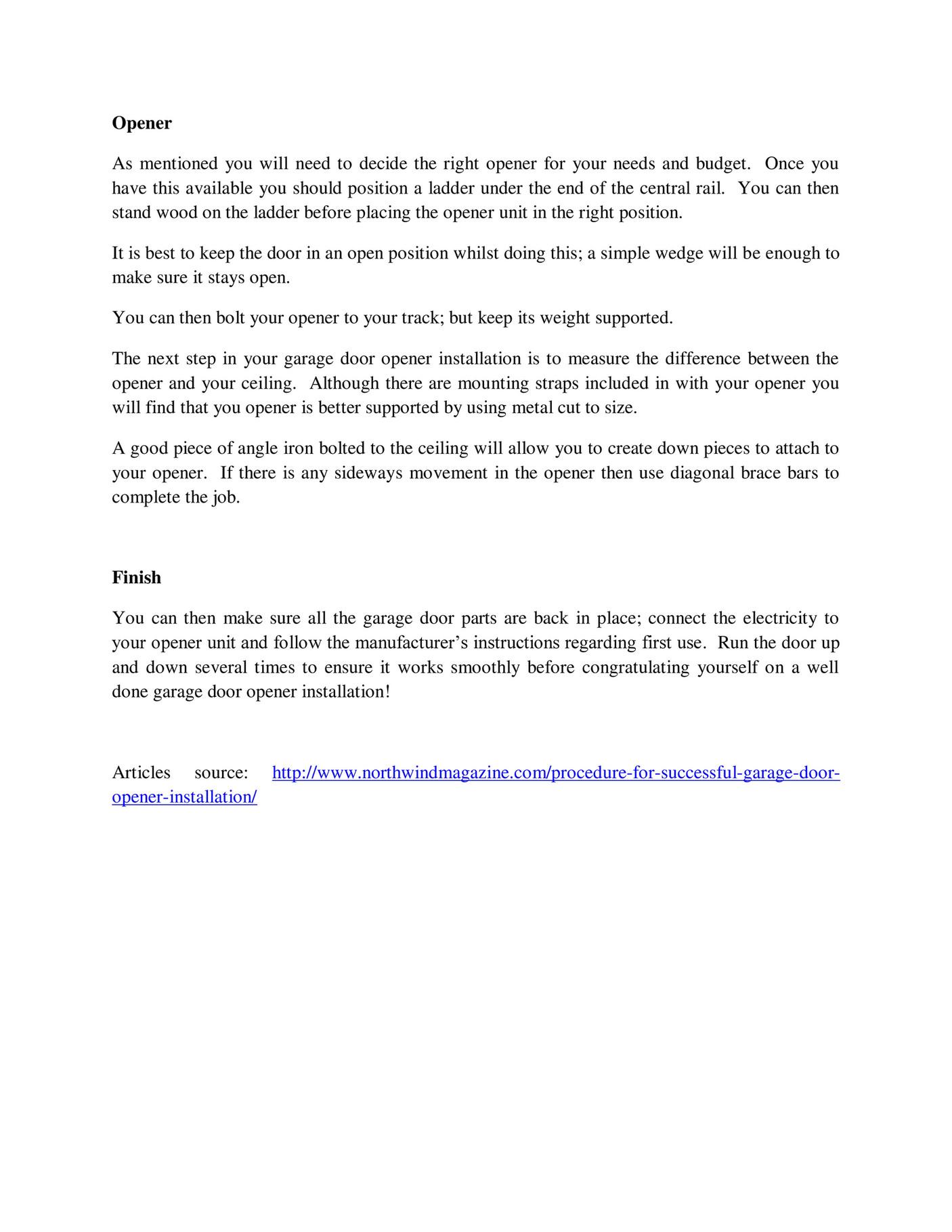 Git Expert Procedure For Successful Garage Door Opener Installation Page 2 Created With Publitas Com