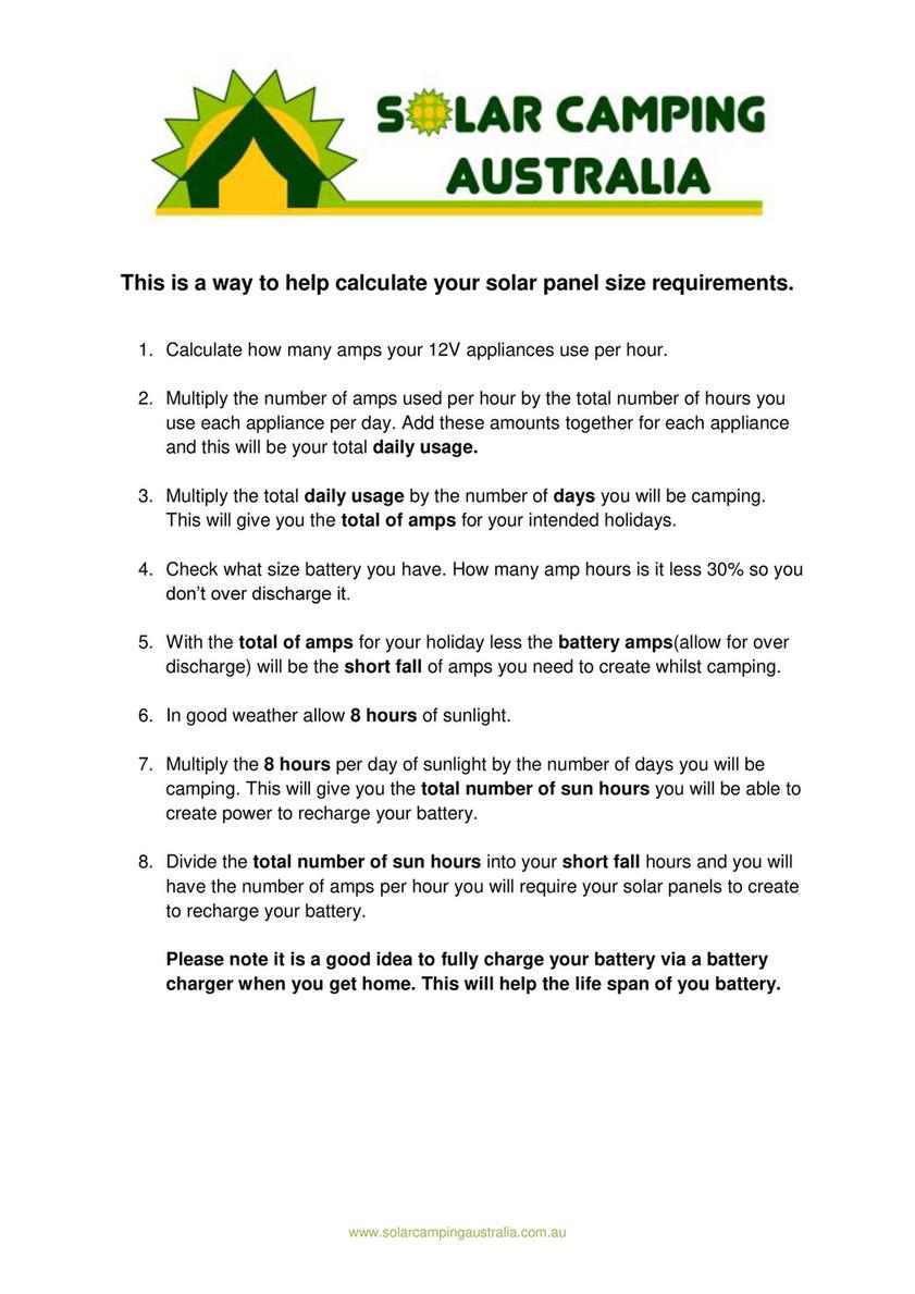 Solar Camping Australia - Solar Size Calculator - Page 1 - Created