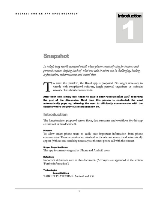 Documents - Recall Mobile App Specification - Page 6-7 - Created