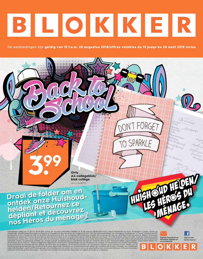 Folder Blokker du 15/08/2018 au 28/08/2018 - Promotions de la semaine