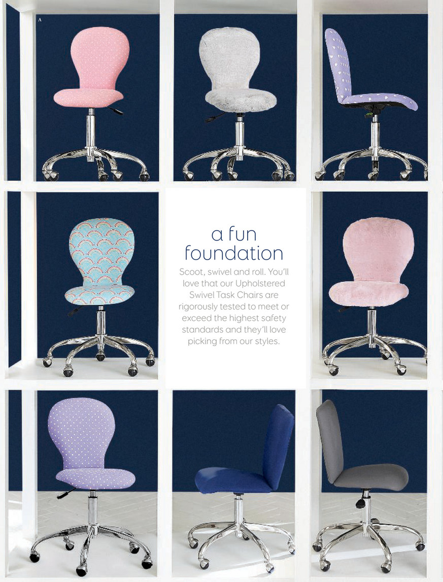 Pottery Barn Kids Pbk August 2017 Lorraine Swivel Desk Chair Linen Blend Gray With White Base Standard