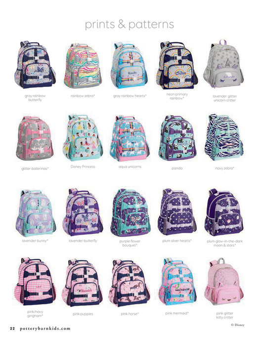 Prints Patterns Rainbow Zebra Gray Hearts Neon Primary Disney Princess Our Mackenzie Backpacks