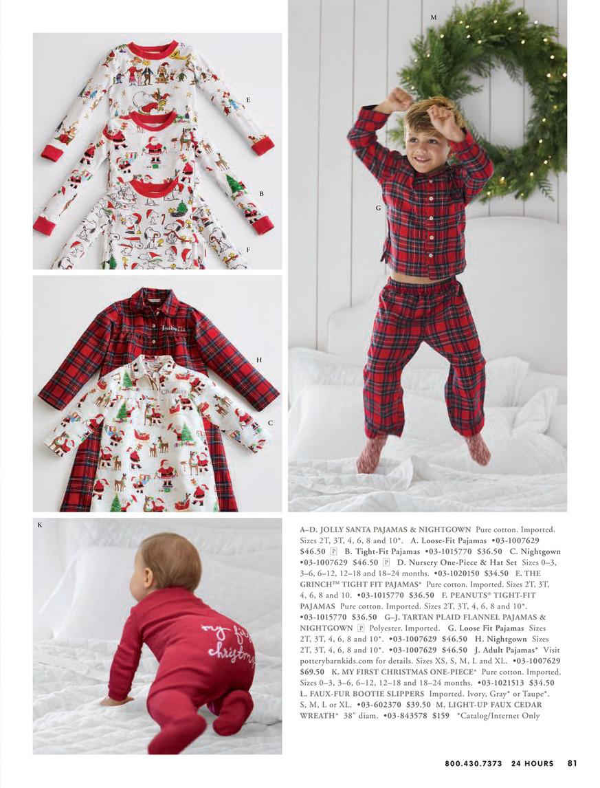 Pottery Barn Kids Jolly Santa Loose Fit Flannel Pajamas Size 4
