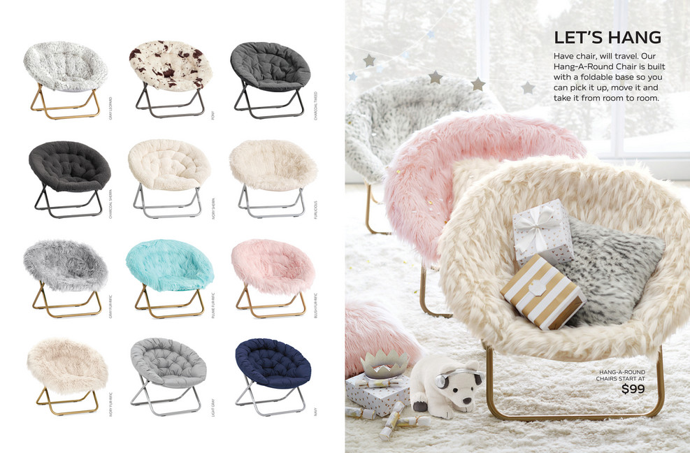 Pottery Barn Teen (PBTeen)   Holiday D1   Hang A Round Chair, Himalayan  Plume Faux Fur W/ Gold Base