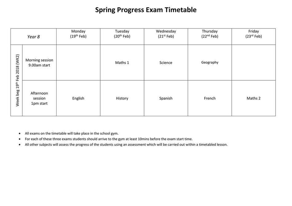 Ashington Academy - Spring Progress Exam Timetable - Year 8
