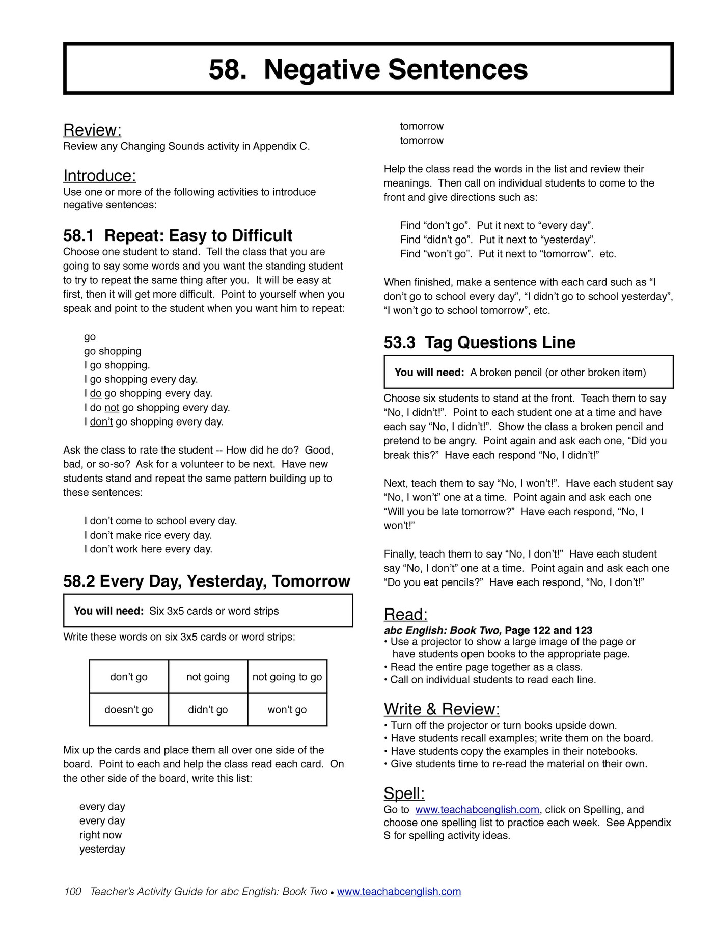 easy english readers teachersactivityguide2 page 100 101 a abc letter s and sounds b short and long vowels c change the first or last sounds d change the vowel sounds e syllables