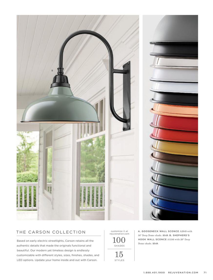the latest ac251 5a15d Rejuvenation - 2018 Lighting Guide - Carson Gooseneck Wall ...