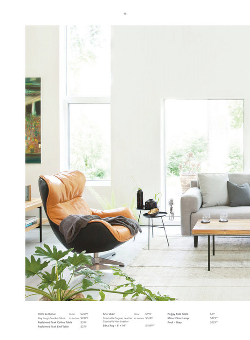 46 Remi Sectional FROM $ 2699 Arie Chair FROM $ 999 Peggy Side Table $79  Key ...