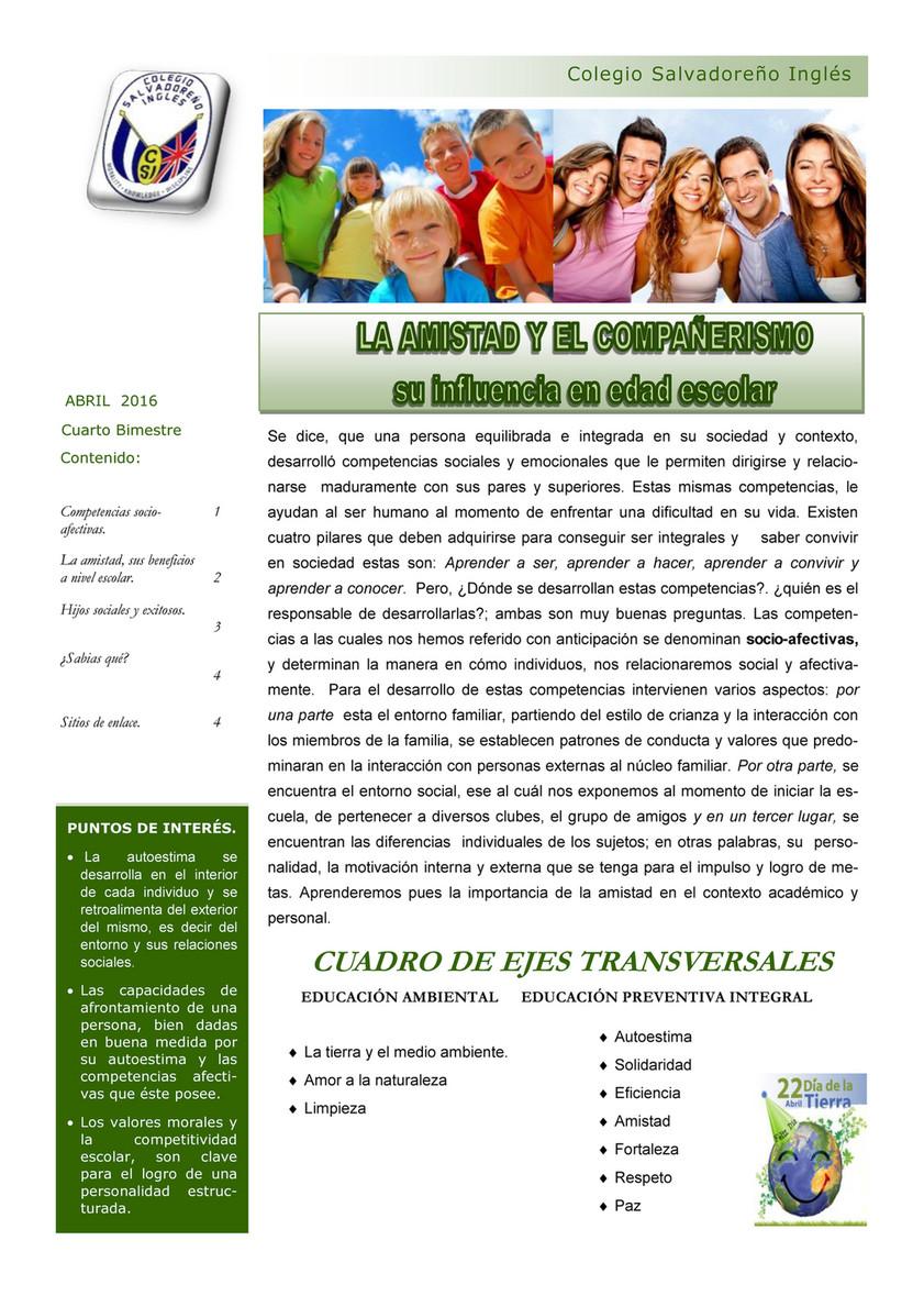 Colegio Salvadoreño Inglés - BOLETIN DE VALORES 4TO BIMESTRE 2015 ...