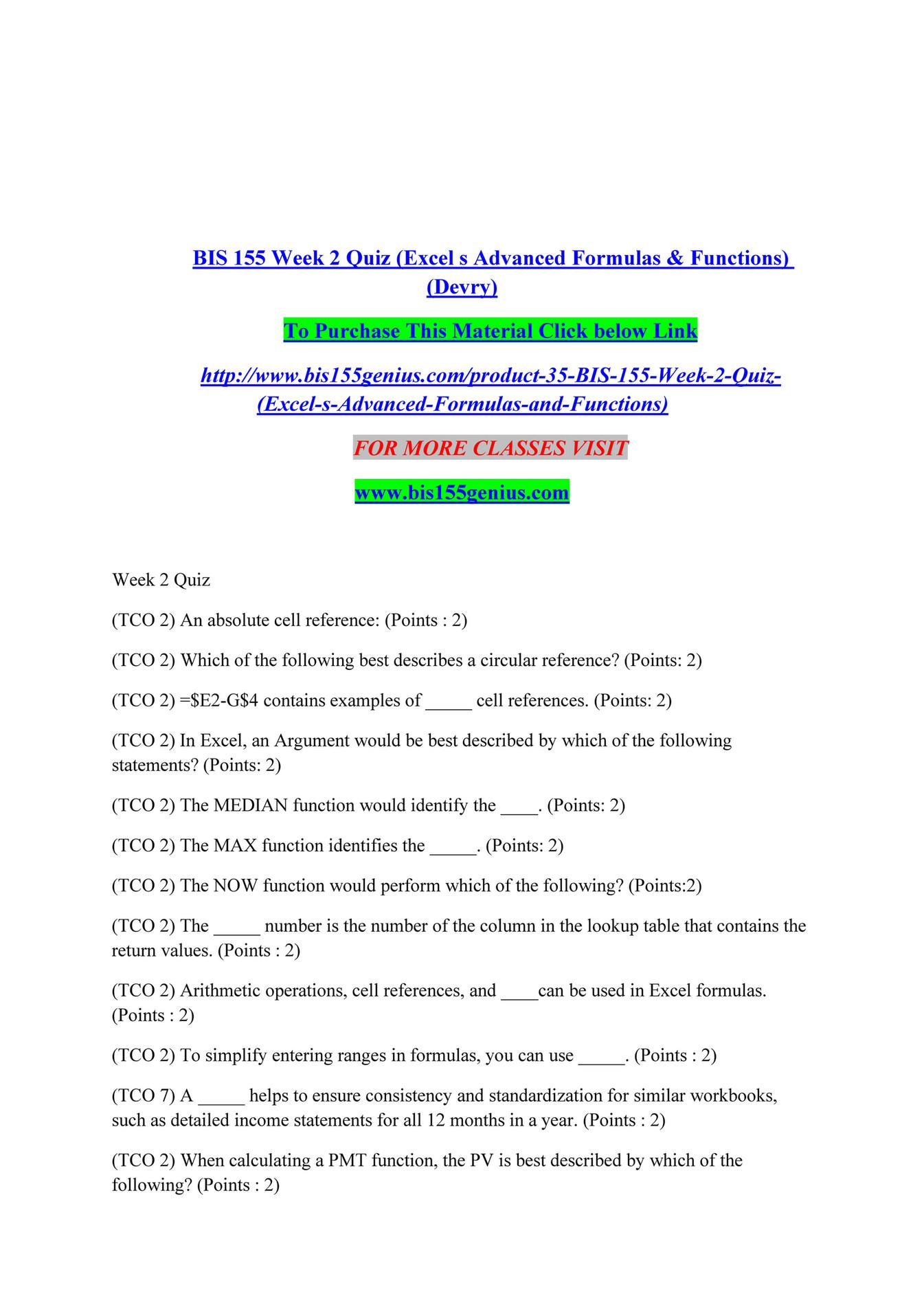 kanha   BIS 200 Week 20 Quiz Excel s Advanced Formulas & Functions ...
