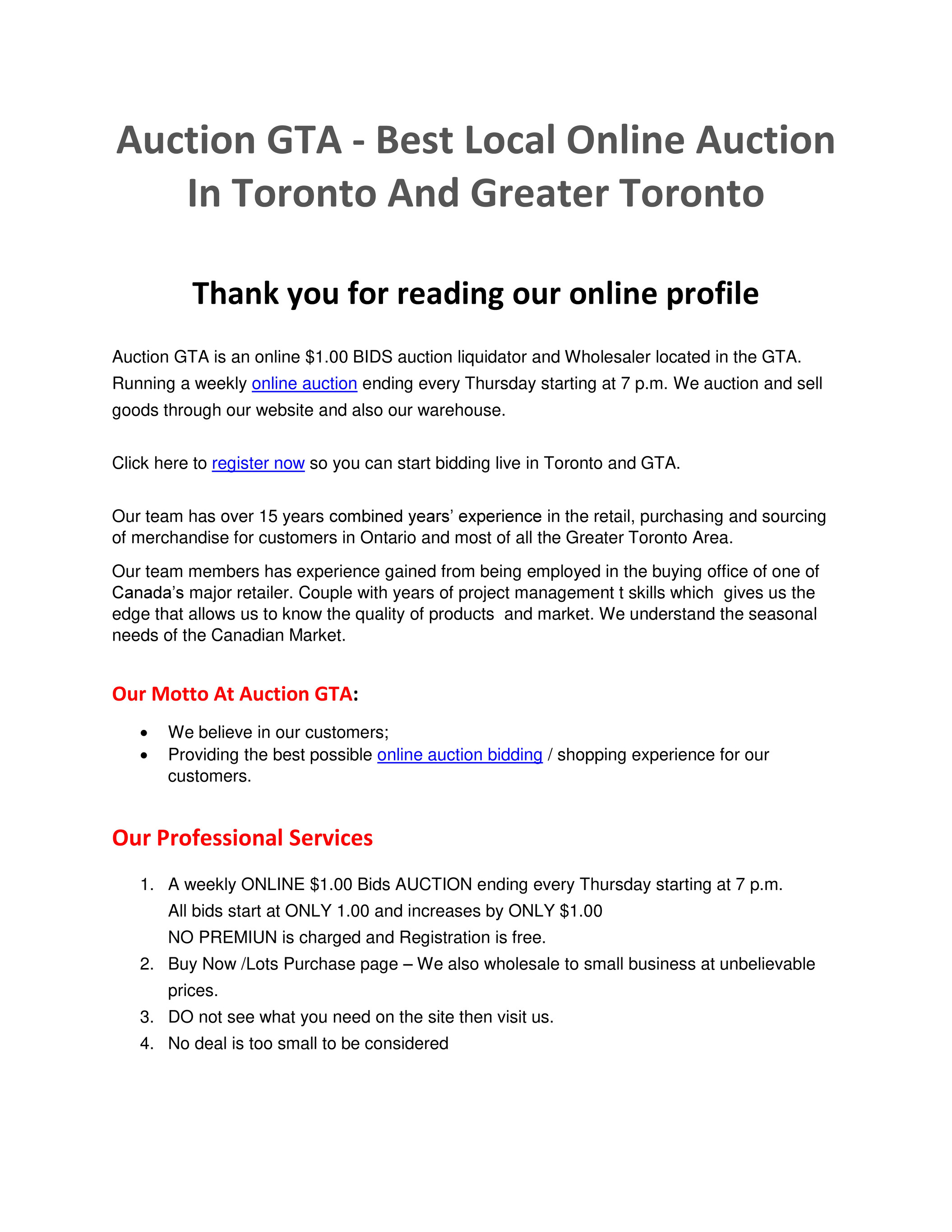 My Publications Auction Gta Best Local Online Auction Page 1 Created With Publitas Com