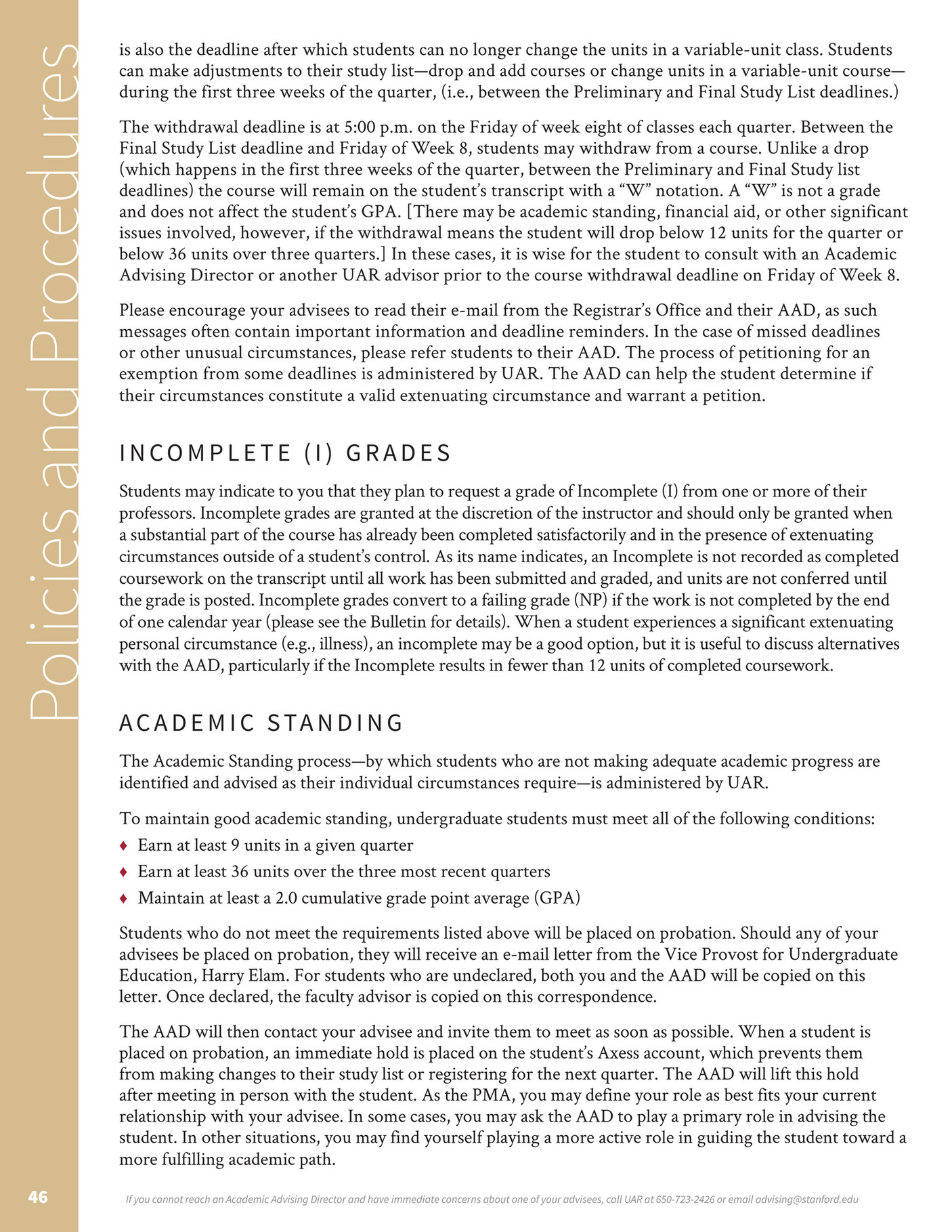 stanford university vpue pma handbook r page  stanford students encounter failure if they earn a failing grade on an exam or in a class or if they are placed on academic probation