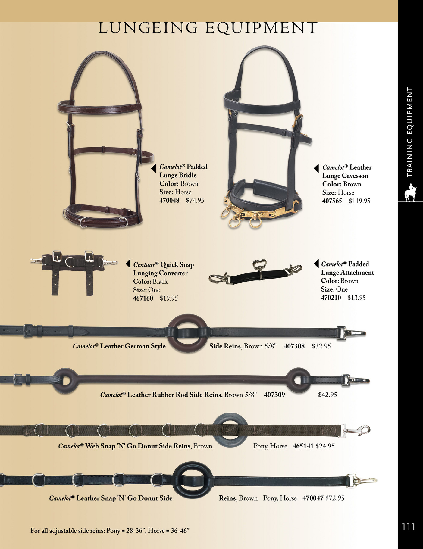 5//8 Brown Camelot German-Style Side Rein