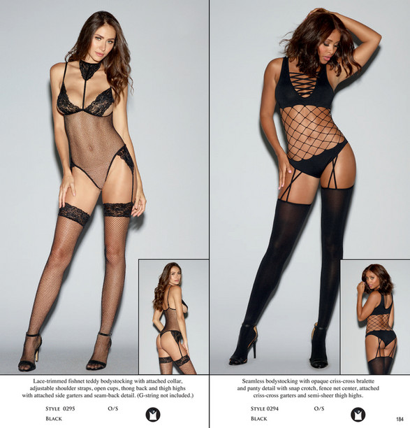 6ee4cc74a3c ... Lace-trimmed fishnet teddy bodystocking with attached collar