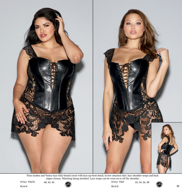 fb11efcbb ... underwire Faux-leather and Venice lace fully-boned corset with lace-up  front detail
