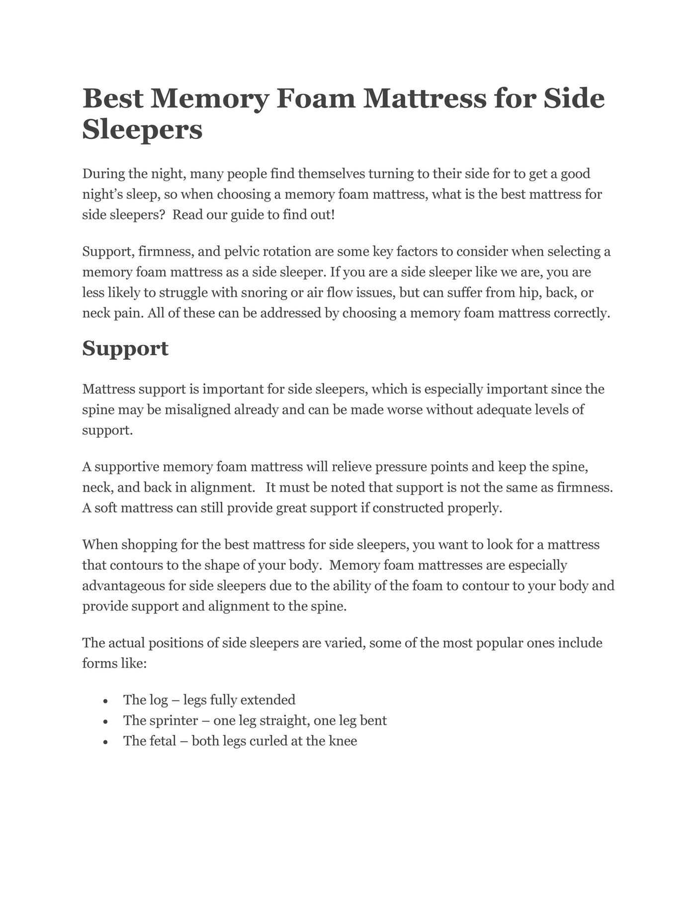Memory Foam Mattress For Side Sleepers