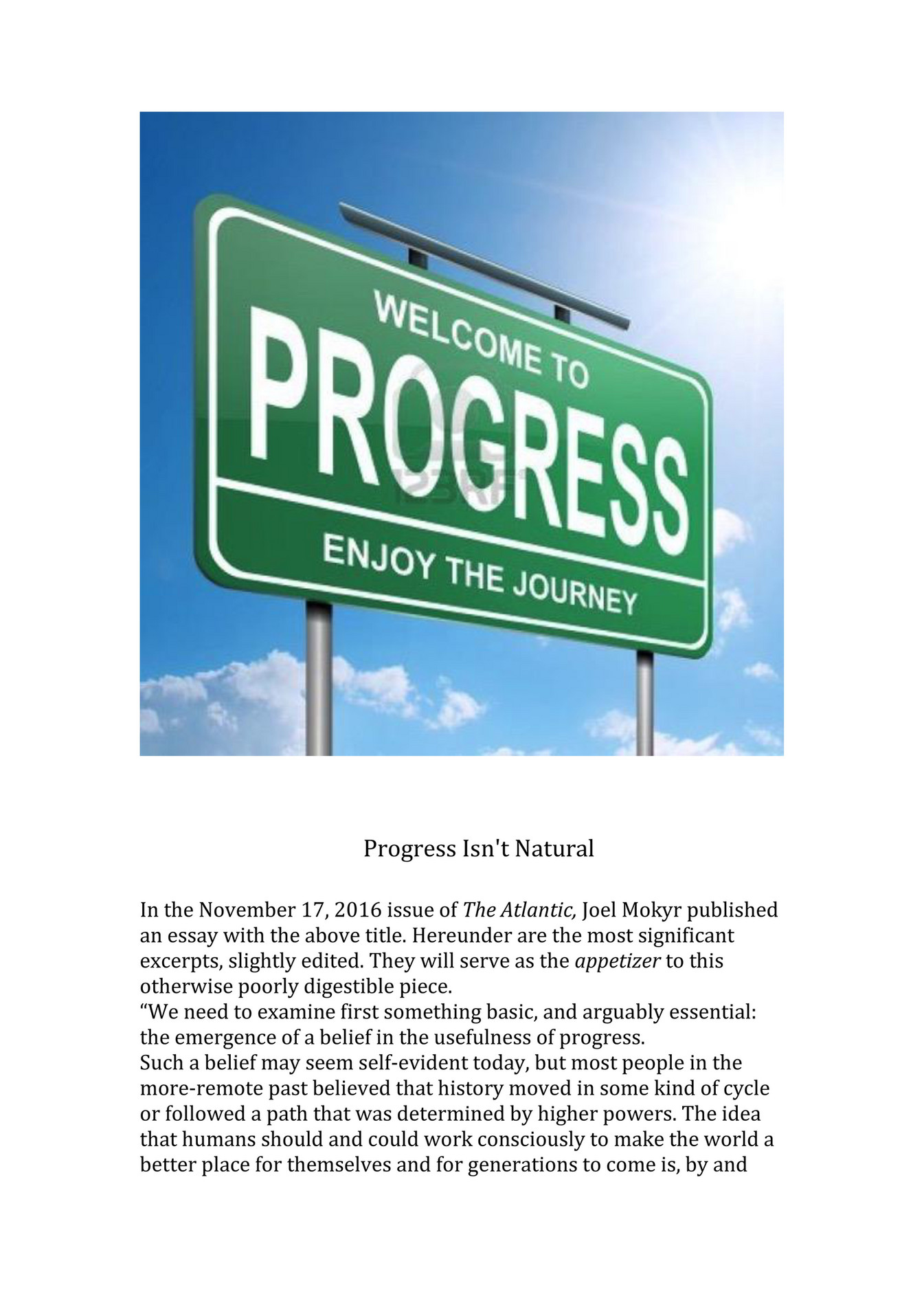 my publications gmh progress essay nov page created columbus and isaac newton of course just believing that progress could be brought about is not enough one must bring it about the