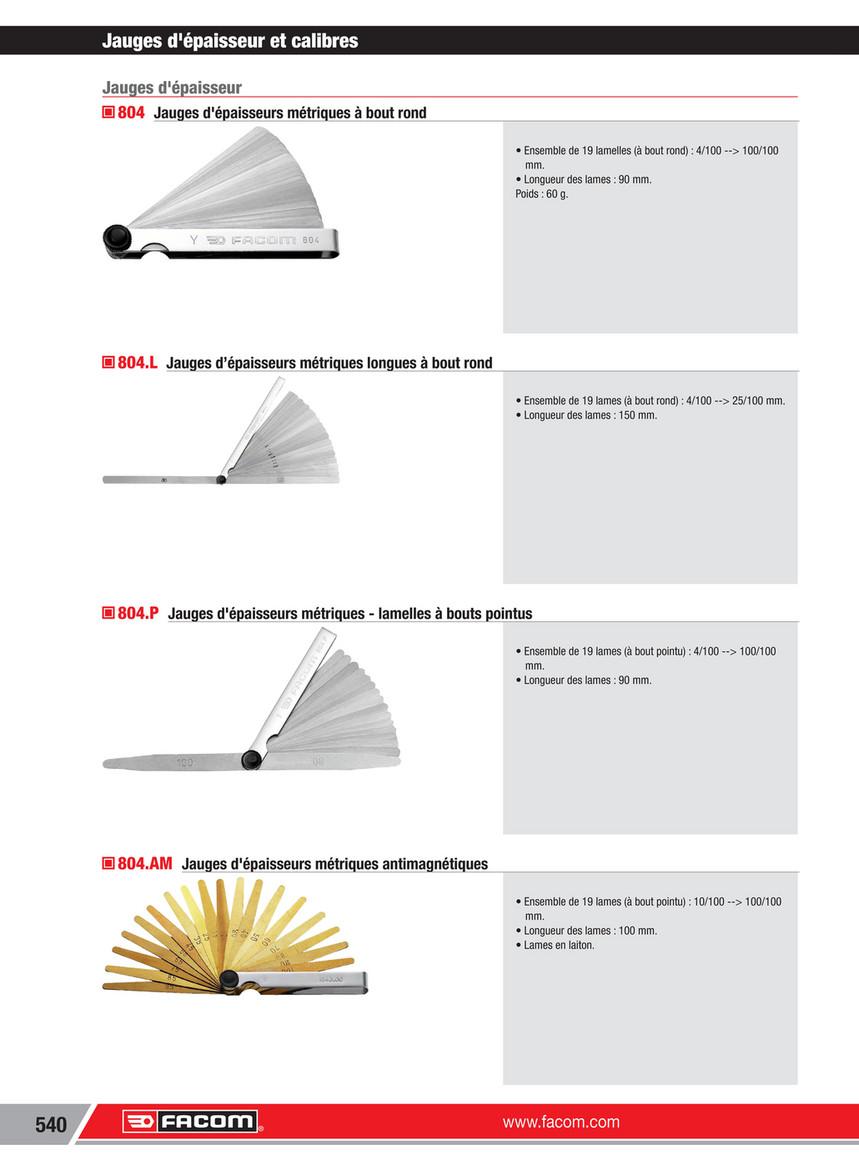 Facom 804.L/ /Ensemble de 19 jauges d/épaisseurs m/étriques longues /à bout rond