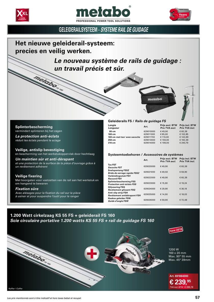 Metabo Rail de guidage FS 80 longueur 80 cm 629010000