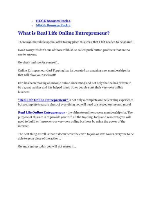 26eba4fc03a o o HUGE Bonuses Pack 4 MEGA Bonuses Pack 5 What is Real Life Online  Entrepreneur ...