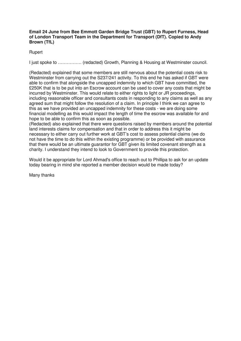 My publications - Email summaries between Garden Bridge Trust, TfL