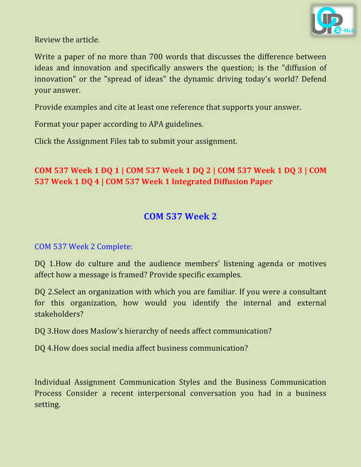 UOP E Help - COM 537 Final Exam Answers at UOP E Help - Page 4-5