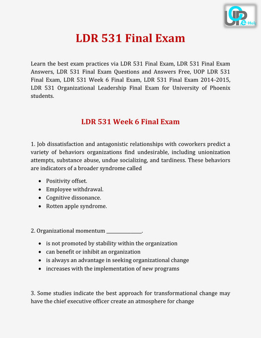 UOP E Help - LDR 531 Final Exam 2015 : Questions and Answers at UOP