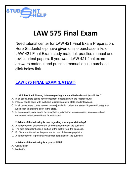 uop - LAW 575 Final Exam | LAW 575 Final Exam Answers | LAW 575