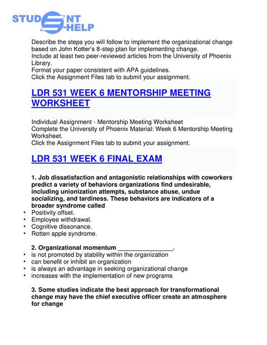 uop - LDR 531 Final Exam - LDR 531 Final Exam Questions: LDR 531