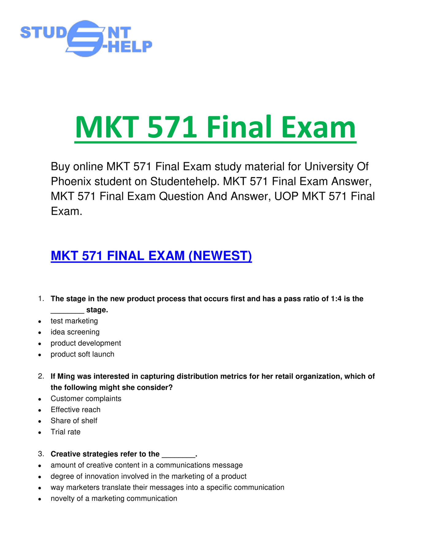 mkt 571 final exam 2018